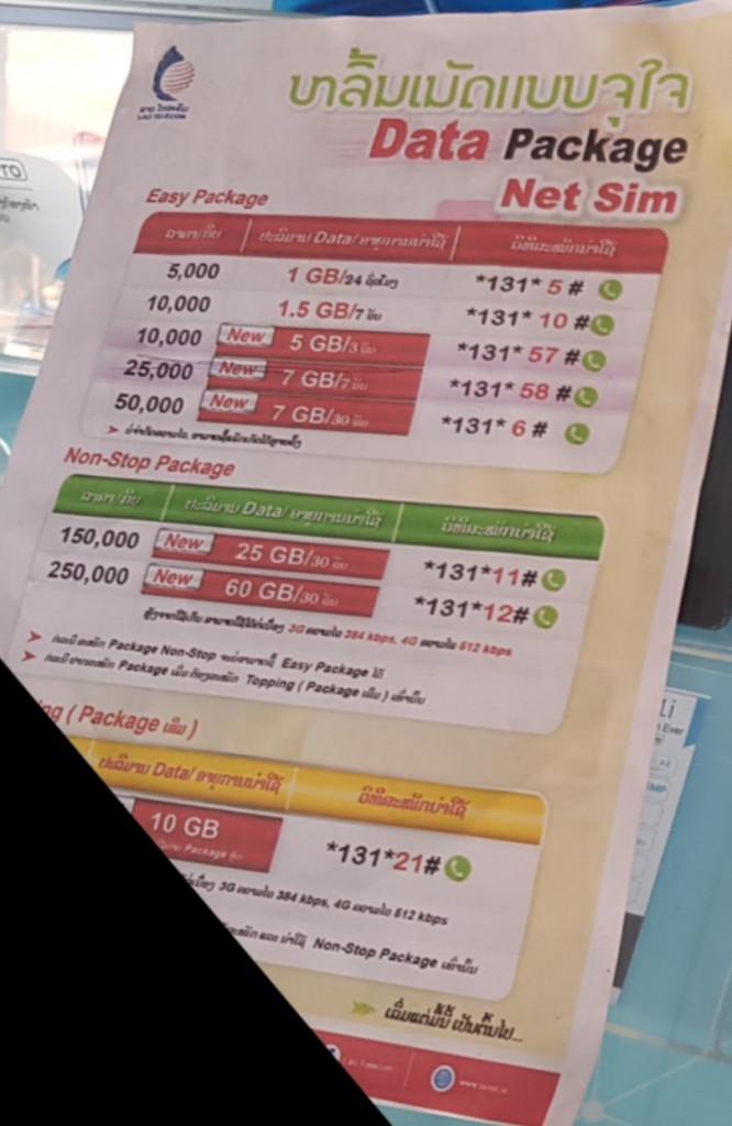 Übersicht der SIM-Karten Tarife für Laos.