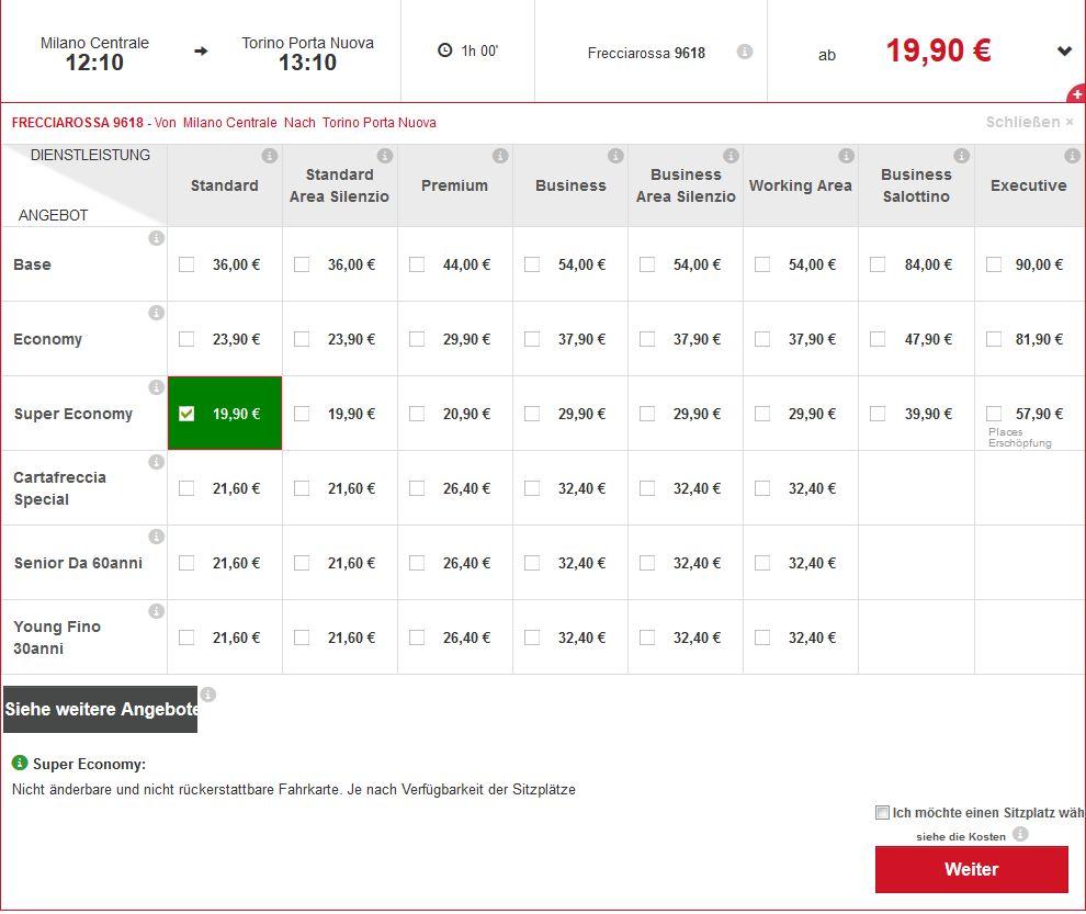 Italien mit dem Zug: Trenitalia Preisübersicht für eine Zugverbindung von Mailand nach Turin.